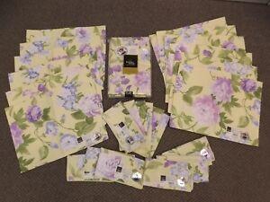 USA NEW Flower Garden Table Linen Set 60x120 Tablecloth,12 Placemats, 12 Napkins