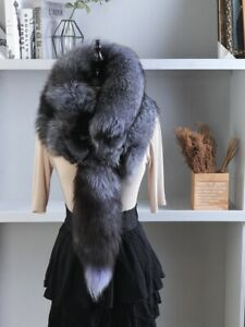 Unisex Natural Winter Dress Genuine 100%  Real Fox Fur Collar Scarf Gift