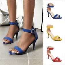Womens High Heels Sandals Ankle Strap Shoes 5 Colors Peep Toe Summer Casual D