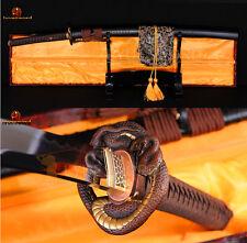 FULL TANG JAPANESE SAMURAI KATANA SWORD DAMASCUS CLAY TEMPERED VERY SHARP BLADE
