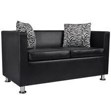 vidaXL Sofa 2-Sitzer Luxus-Kunstleder Loungesofa Couch Sitzmöbel Kissen schwarz