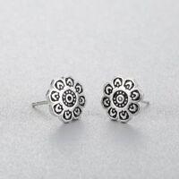 925 Sterlingsilber Damen Ohrstecker Ohrringe Rund Coin Symbol Blüte Blume Silber