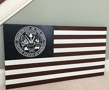 "36"" x 19"" Large Hand-Crafted Wood ARMY Emblem American Flag for Soldiers & Vets"