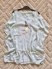 BNWT TOPSHOP RARE & UNIQUE MINT GREEN 100% SILK RAW HEM CAPE VEST TOP BLOUSE 8