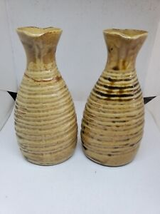 Vintage Pair Of Glazed Tan Ceramic Bud Vases Swirl Design