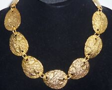 Erwin Pearl  Gold plated Large Hammered Link Couture Runway Necklace Beautiful