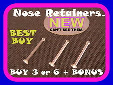 *LOOK* 3 x Nose Retainers Invisible Bone Stud Ring Piercing, TINY 22G (0.6mm)