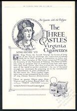 1922 King Henry VII portrait Three Castles cigarette vintage UK print ad