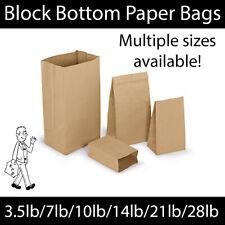 More details for brown kraft block bottom paper bags- 3.5lb/7lb/10lb/14lb/21lb/28lb recyclable