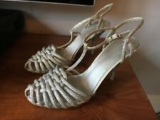 Ladies Nine West sparkly silvery strappy dressy shoes size (8W)