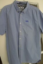 Chemise homme à manches courtes, col boutonné, Blue & White Checked Shirt, XXL