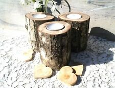 3 Rustic Wooden Branch Tree Tea Light Wood Candle Holders Wedding Mother's Day
