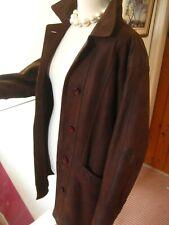 Ladies HELIUM brown real leather JACKET COAT BLAZER size UK 16 14 over long line