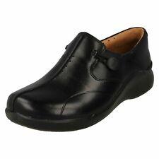 Clarks Un Loop 2 Black Leather Comfort WIDE FIT Nurses Care Worker Slip On Shoes