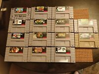Super Nintendo SNES 14 Game Lot - Authentic TESTED! Pac Man, Wrestling, Wario!