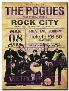 THE POGUES Metal Wall Sign reproduction classic concert poster great decor