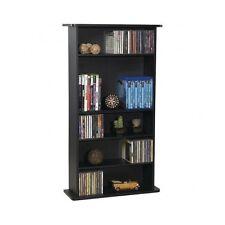 Black Media Cabinet DVD Book Wall Shelf Wood Home Office Furniture Bookcase