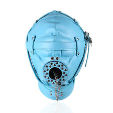 New Blue Bondage Restraint Sensory Deprivation Hood / mask with open Mouth Gag.