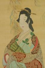 Hanging Scroll Japanese Painting Beauty Japan Asian art ink Antique Woman a492