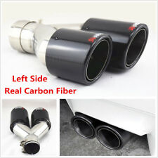 Glossy Black Real Carbon Fiber Car Dual Pipe Left Side Exhaust Pipe Tail Muffler