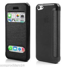Custodia Nera S-View a Portafoglio per iPhone 5C - Flip Cover