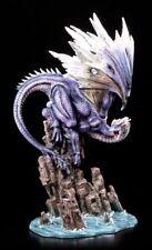 Drachen Figur groß 47 cm - Leviathans Zorns - Blau Wasserdrache