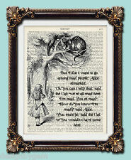 "Mad Cheshire Cat vintage Alice in Wonderland dictionary print 10""x8"""