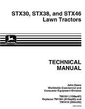 John Deere STX30 STX38 STX46 Lawn Tractors Technical Service Manual 1997 TM1561