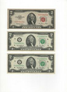 $ 2 Dollars 1953 Red Seal, 2 Dollars 2013 Consecutive numbers