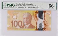 Canada 100 Dollars ND 2011 P 110 Polymer WILKINS POLOZ Gem UNC PMG 66 EPQ