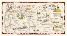 Trail of Lewis and Clark 1804 - 1806 map 1945 pictorial POSTER 0073
