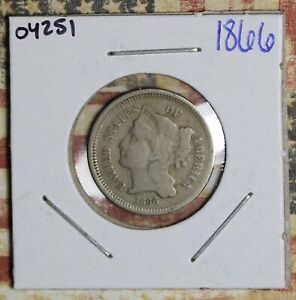 1866 THREE CENT NICKEL COLLECTOR COIN FREE SHIPPING