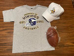 Boys Girls NFL MINNESOTA VIKINGS Gift Set - Sz 7 Shirt, Football & Cap - New NWT