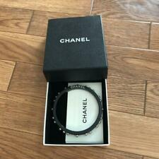 Auth CHANEL Letter Pearl Resin Bangle Bracelet Black/White Used from Japan F/S