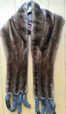 Real Mink Fur Vintage stole shawl with 8 tails scarf coat jacket collar