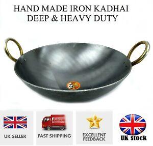 Iron Tawa Karahi Kadai Wok Tawa Heavy Duty Kadhai Round Base Deep Frying Pan New