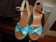 New Kate Spade New York Florence Broadhurst Aqua Blue/White Wedges Heel Shoes 9