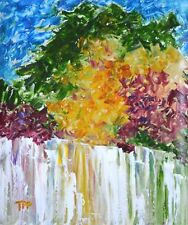 """""""Rainbow Waterfall"""" Contemporary Landscape Oil Painting on Paper Artist 2000-Now"""