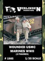 Verlinden 1:35 WWII Wounded USMC Marines - 2 Resin Figures Kit #1985