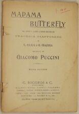 GIACOMO PUCCINI MADAMA BUTTERFLY ILLICA GIACOSA 1930 LIBRETTO D'OPERA RICORDI