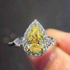 2.50 Ct Pear Cut Yellow Citrine Stone Engagement Ladies Ring 14K White Gold Over