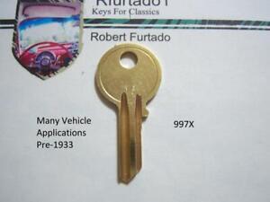 Key Blank - Nash - Chrysler - Pierce Arrow - Marmon - Pre 1933 See Apps. 997X Y6