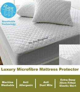 Quilted Microfibre Mattress Protector Fitted Cover Extra Deep Single Double King