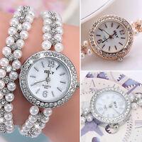 Women Faux Pearl Bracelet Wrist Analog Quartz Crystal Rhinestone Dial Watch New