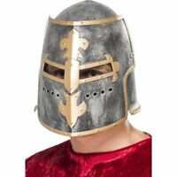 Medieval Crusader Helmet w. Movable Face Shield Fancy Dress King Knight Cosplay