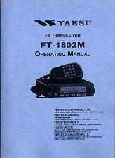 NEW Yaesu FT-1802M Operating Manual Book in English