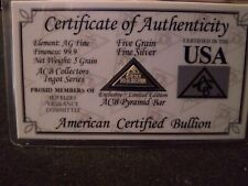 ACB Silver BULLION MINTED 5 GRAIN PYRAMID 99.9 Pure AG SOLID With Certificate