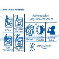 Comprimés de Purification d'eau AQUATABS (bande de 10) - 67 mg Voyage Filtration