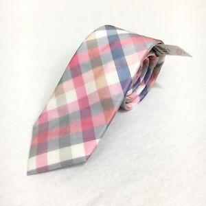 """Express Men Skinny Narrow 100% Silk Pink White Checkered Neck Tie 2.5"""" NWT"""