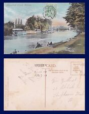 UK SURREY, HOUSEBOAT REACH, STAINES POSTED 1908 TO MISS GILBERT, SHEPHERD'S BUSH